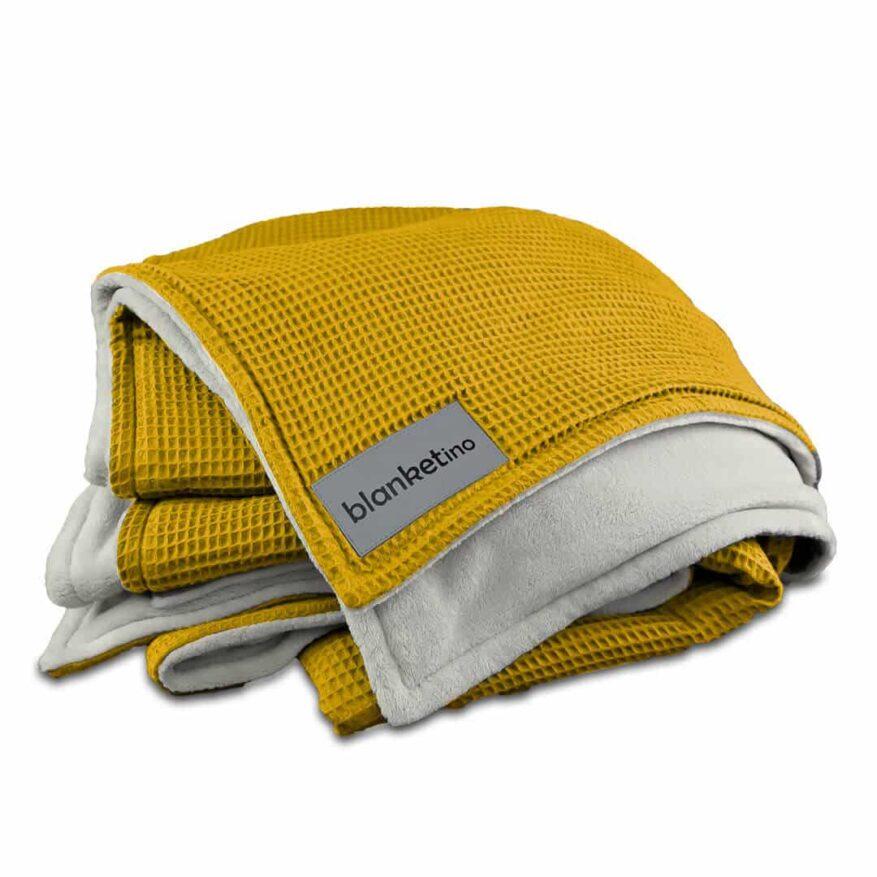 flauschige kuscheldecke in gelb leicht zu waschen