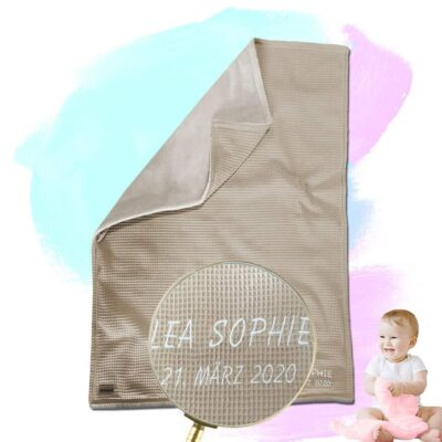 Babydecke mit Namen – Latte Macchiato/Sandweiß – 70 x 100 cm