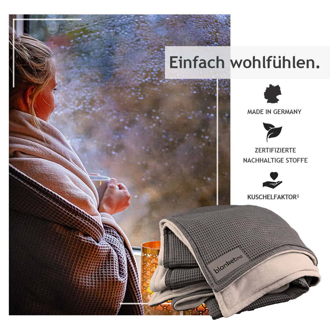 """Kuscheldecke """"Vollkommen"""" – Grau/Sandweiß – 145 x 210 cm"""