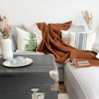 moderne-kuscheldecke-in-haselnussbraun-mit-sandweiss-auf-grauem-sofa-mit-kissen-in-waldoptik