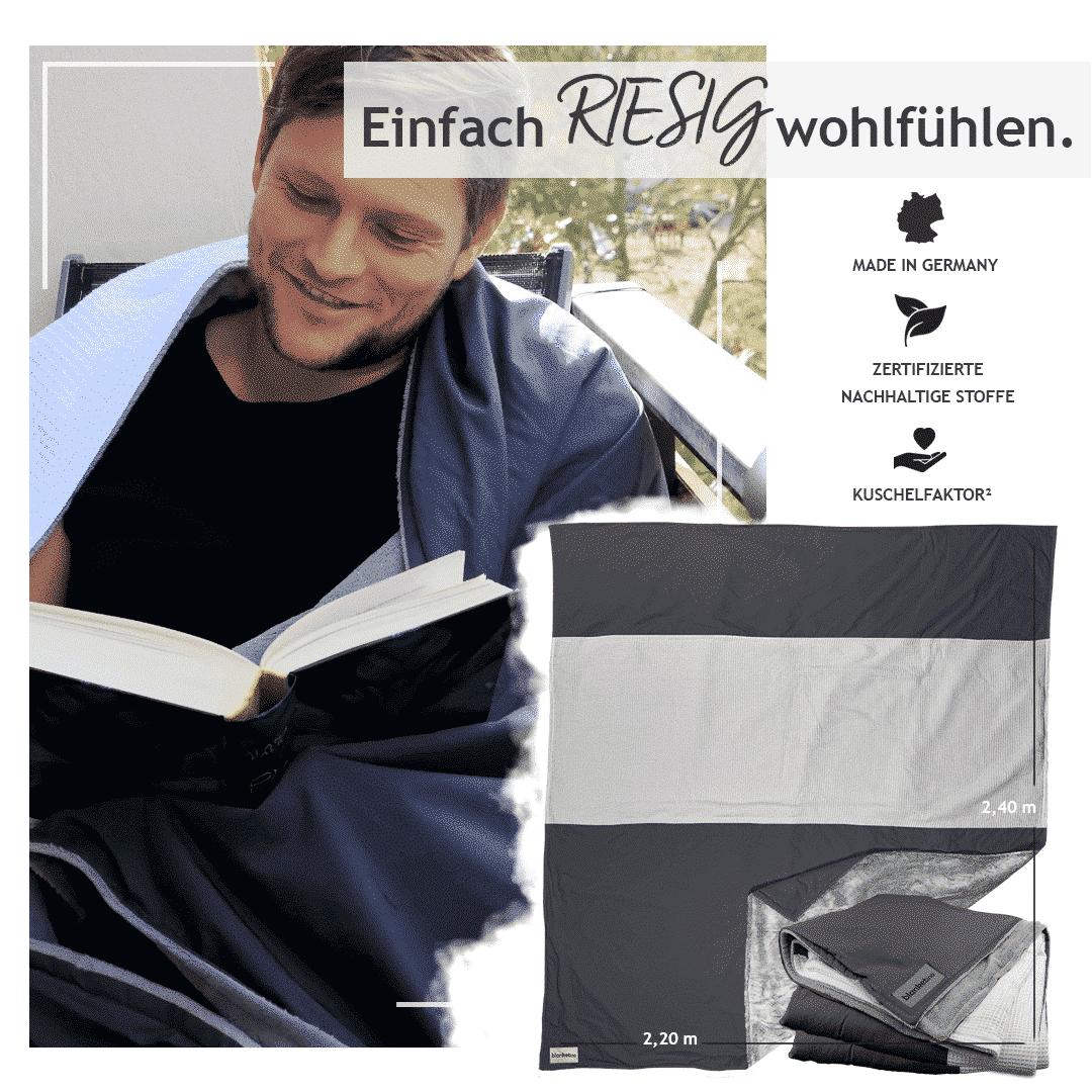 """Kuscheldecke XXL """"Original"""" – Anthrazit/Grau/Weiß – 220 x 240 cm"""