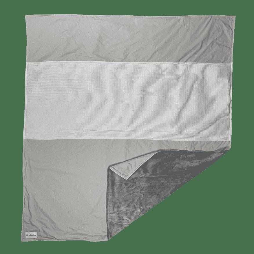 """Kuscheldecke XXL """"Original"""" – Stahlgrau/Hellgrau & Weiß – 220 x 240 cm"""