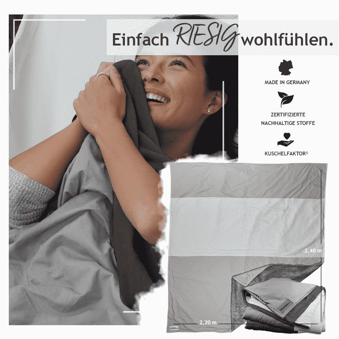 """Kuscheldecke XXL Stahlgrau/Hellgrau & Weiß """"Original"""" 220 x 240 cm"""