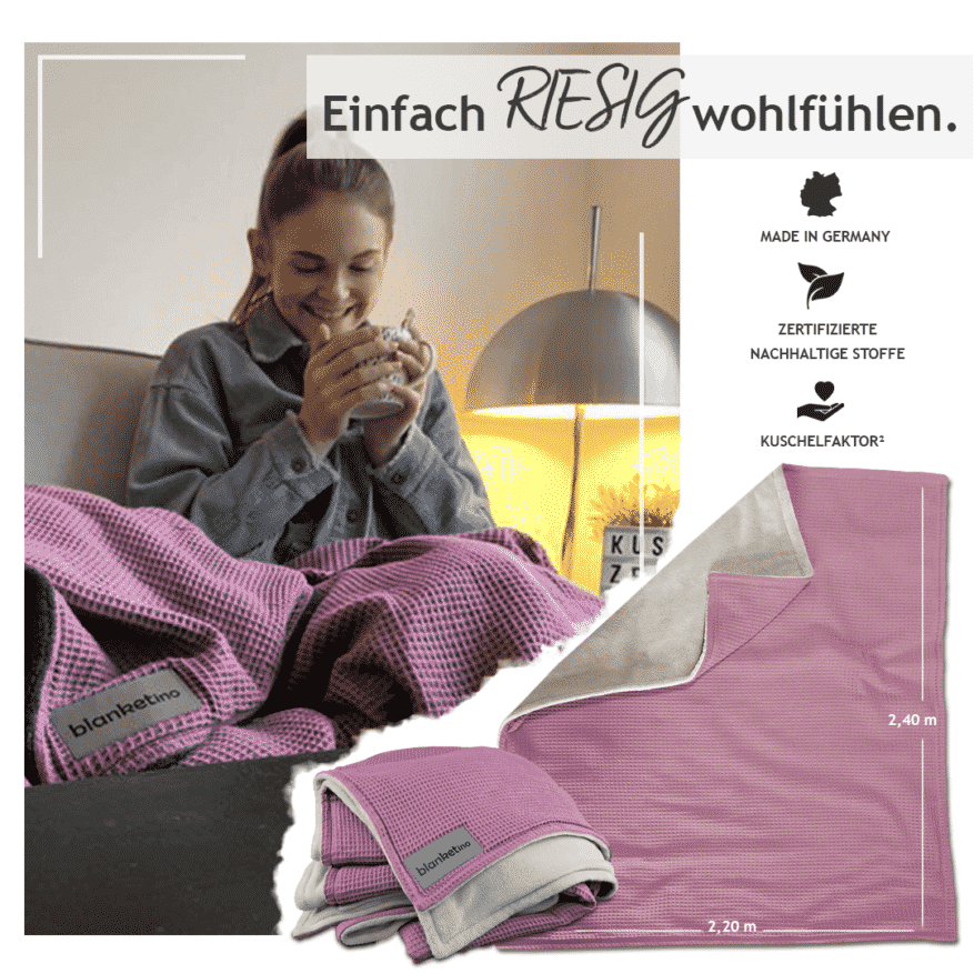 kuscheldecke im xxl format in altrosa und sandweiss