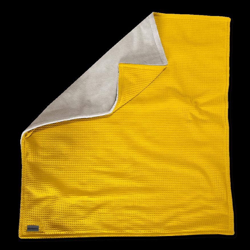 """Kuscheldecke XXL """"Vollkommen"""" – Gelb/Sandweiß – 220 x 240 cm"""