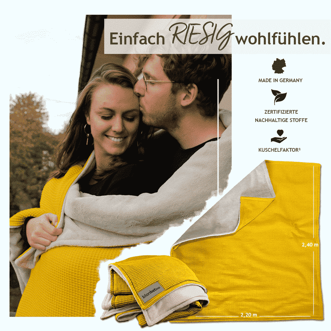 """Kuscheldecke XXL Gelb/Sandweiß """"Vollkommen"""" 220 x 240 cm"""