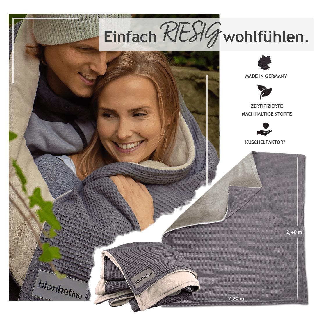 """Kuscheldecke XXL """"Vollkommen"""" – Grau/Sandweiß – 220 x 240 cm"""