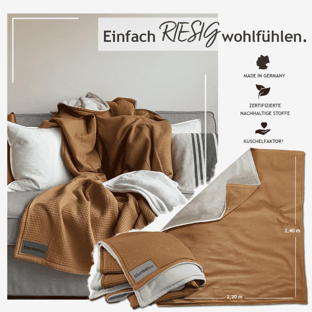 """Kuscheldecke XXL """"Vollkommen"""" -Kamel/Sandweiß – 220 x 240 cm"""