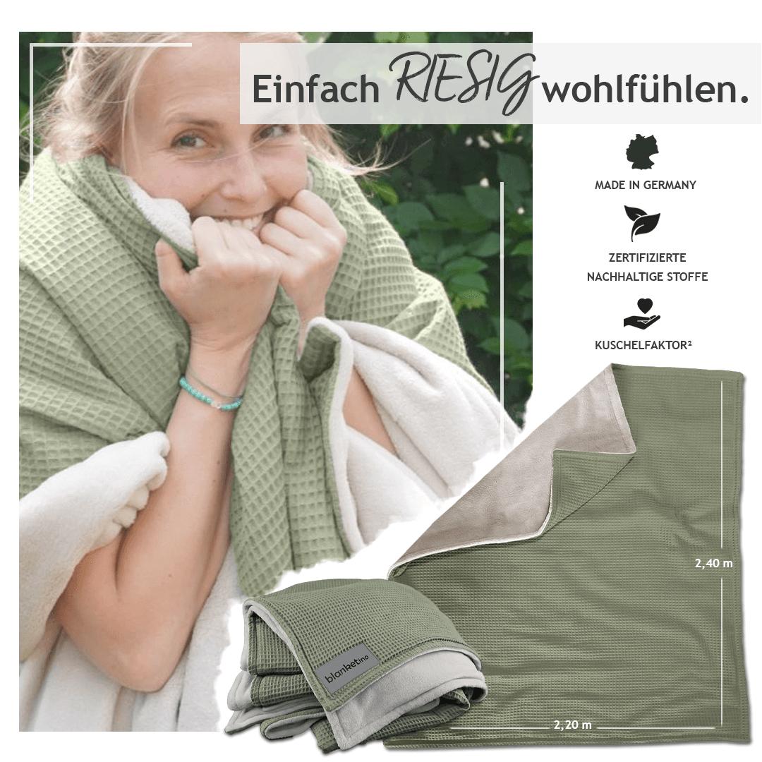 """Kuscheldecke XXL Oliv/Sandweiß  """"Vollkommen"""" 220 x 240 cm"""