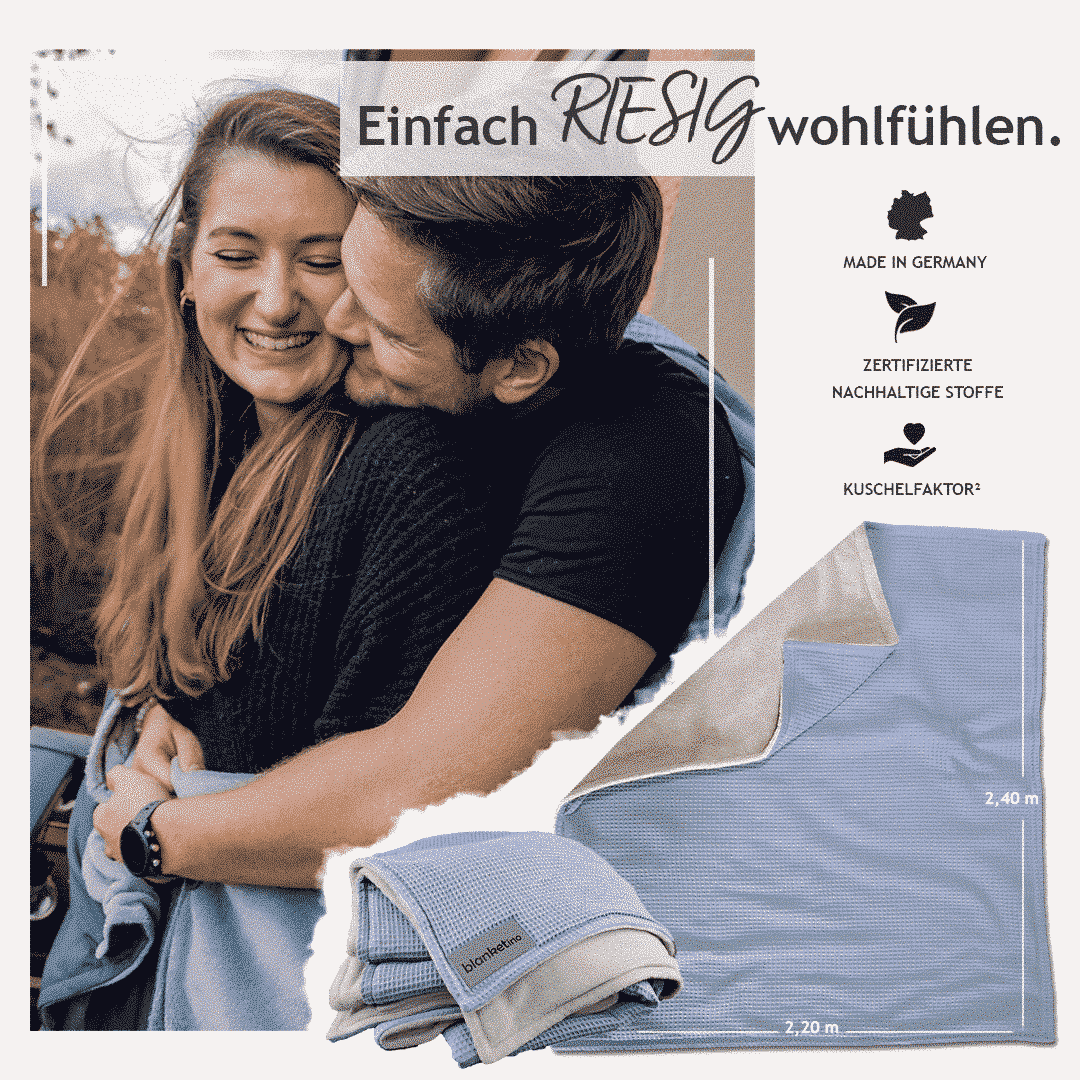"""Kuscheldecke XXL Wolkenblau/Sandweiß """"Vollkommen"""" 220 x 240 cm"""