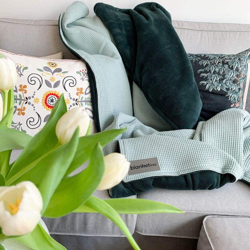 weiche gruene kuscheldecke einfach waschbar in modernem stil