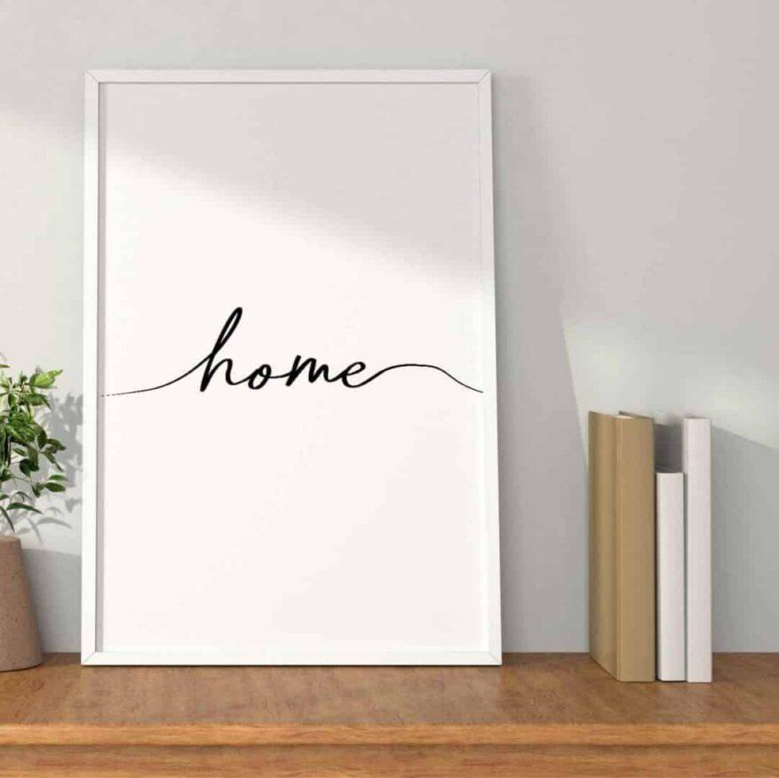 weisses poster mit dem schriftzug home
