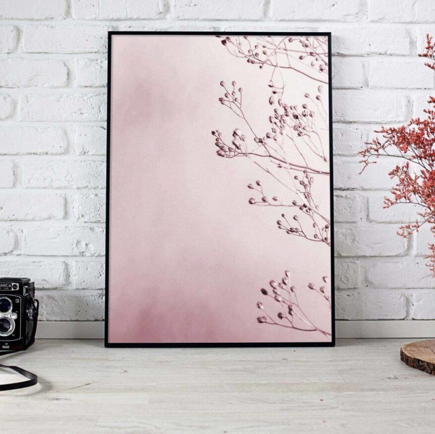 rosa Wandbild als dekoration fuer moderne wohnung