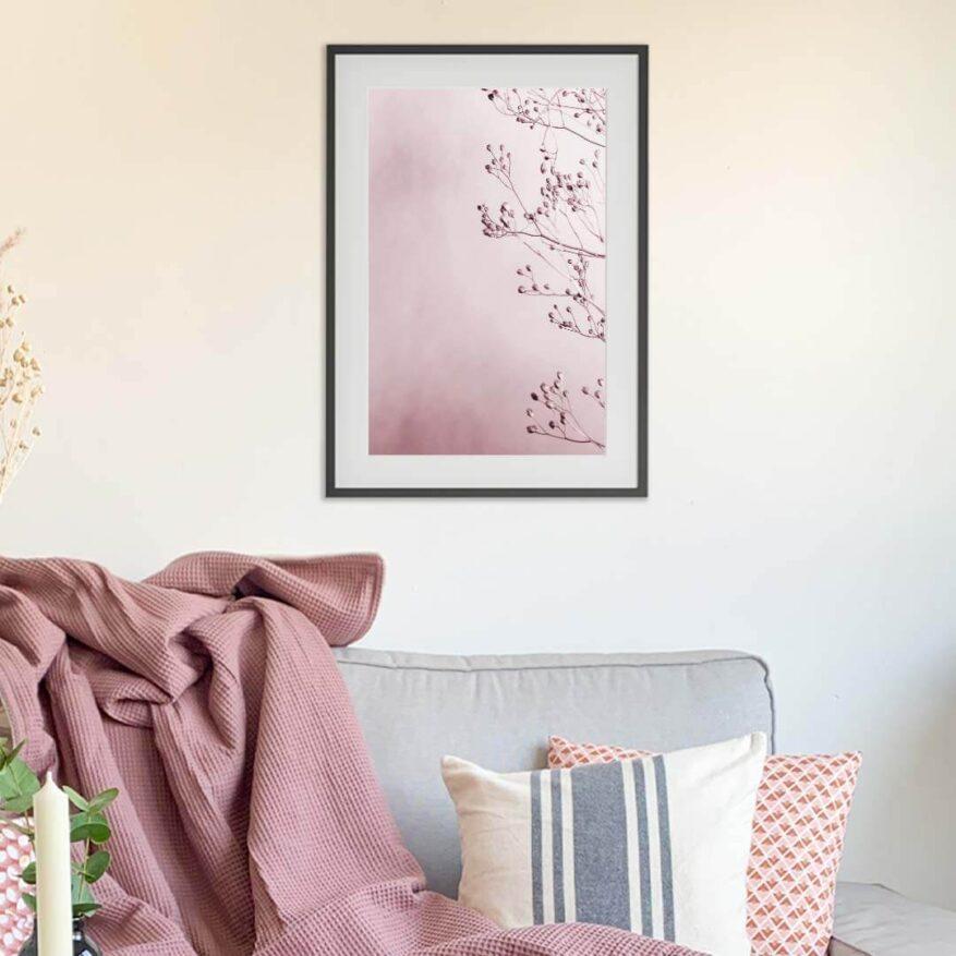 wanddekoration fuer moderne wohnung in rosa