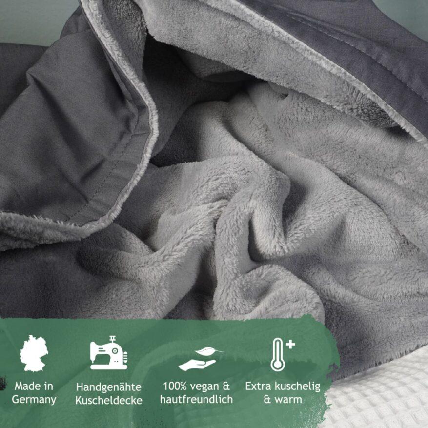 detailaufnahme kuscheldecke sehr weich in grau