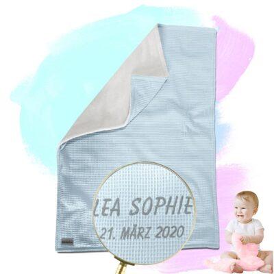 Babydecke mit Namen – Mint/Sandweiß – 70 x 100 cm
