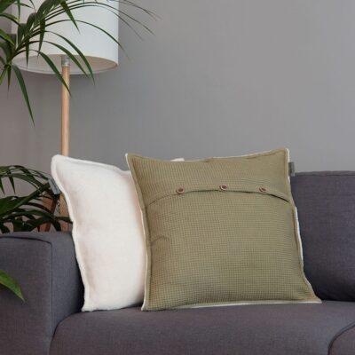 Dekokissen Oliv/Sandweiß 50x50cm – inkl. Innenkissen